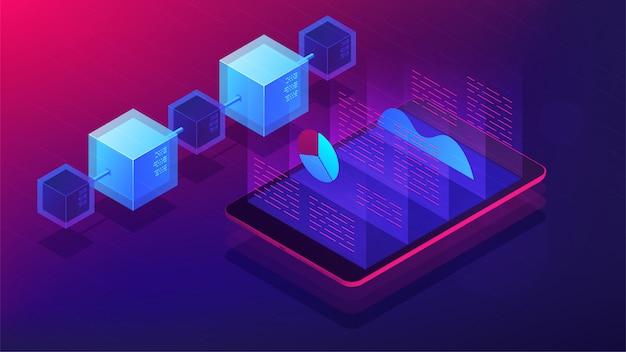 Изометрические блокчейн и ico анализ концепции. Premium векторы
