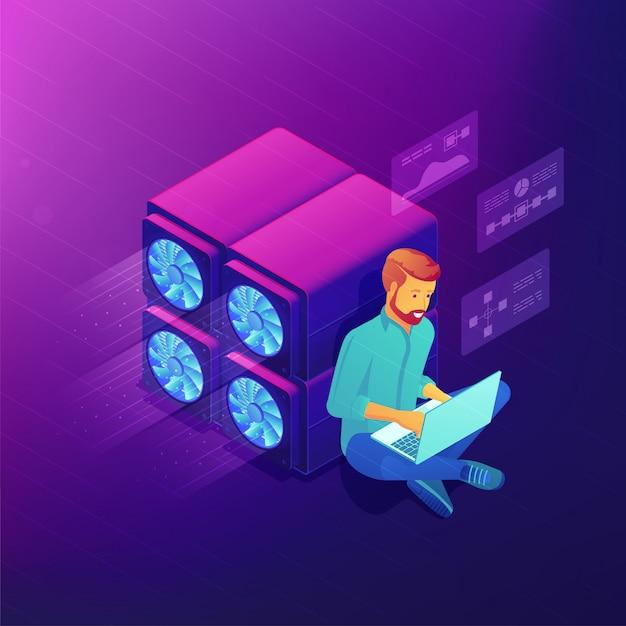 Концепция развития изометрические блокчейн. Premium векторы