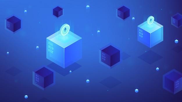 Концепция криптовалюты изометрического блокчейна etherium. Premium векторы
