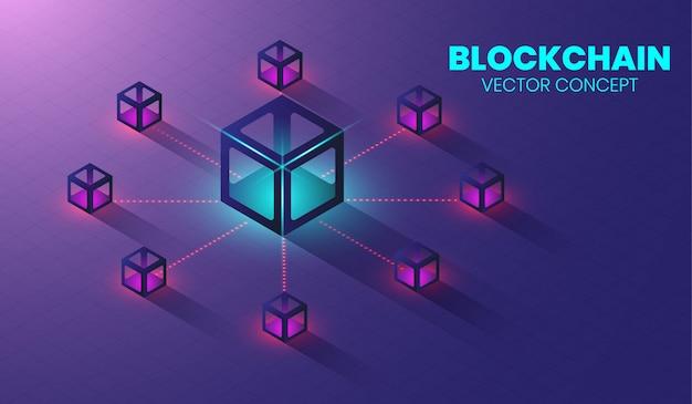 Isometric blockchain technology concept. Premium Vector