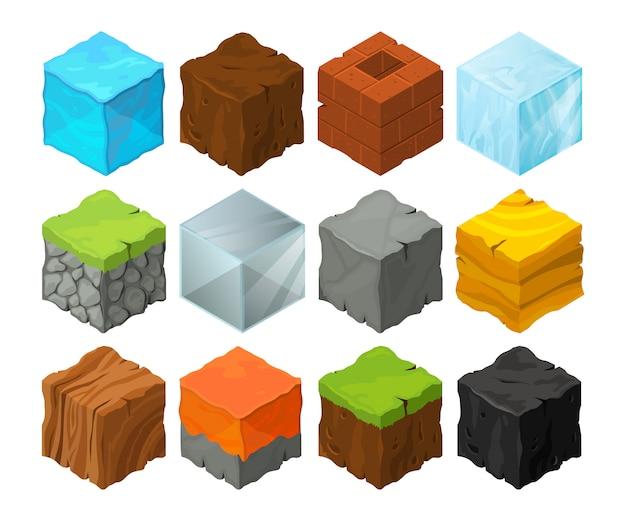 3d 게임 위치 디자인을위한 다른 질감의 아이소 메트릭 블록. 프리미엄 벡터