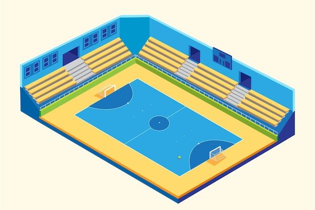 Изометрические сине-желтое поле для мини-футбола Бесплатные векторы