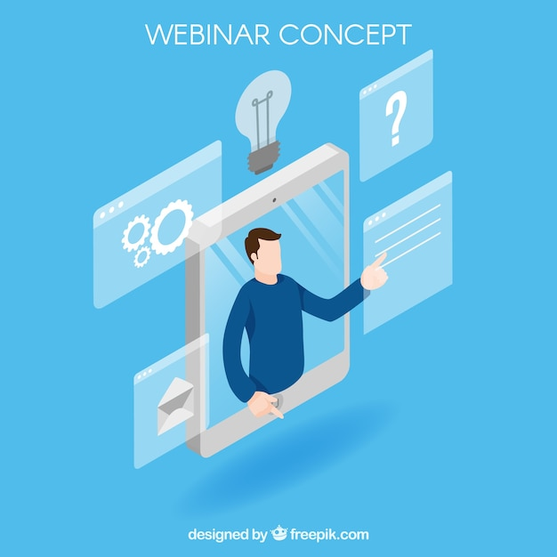 Isometric blue webinar concept Free Vector
