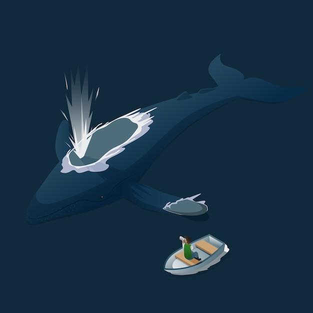 Isometric blue whale photo hunt Premium Vector
