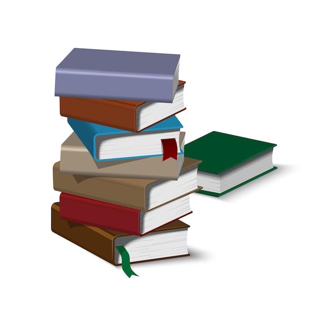 Isometric book pile Premium Vector