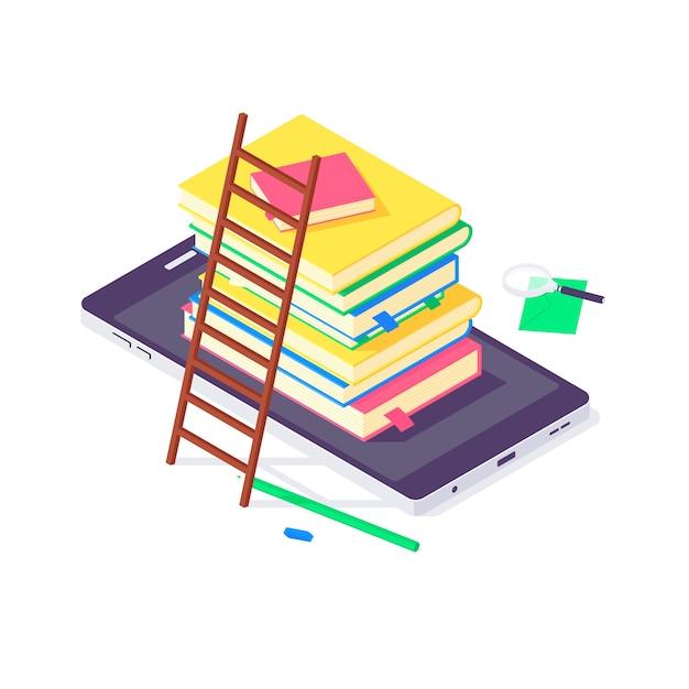 等尺性の本の大学と学校の教育の概念 Premiumベクター
