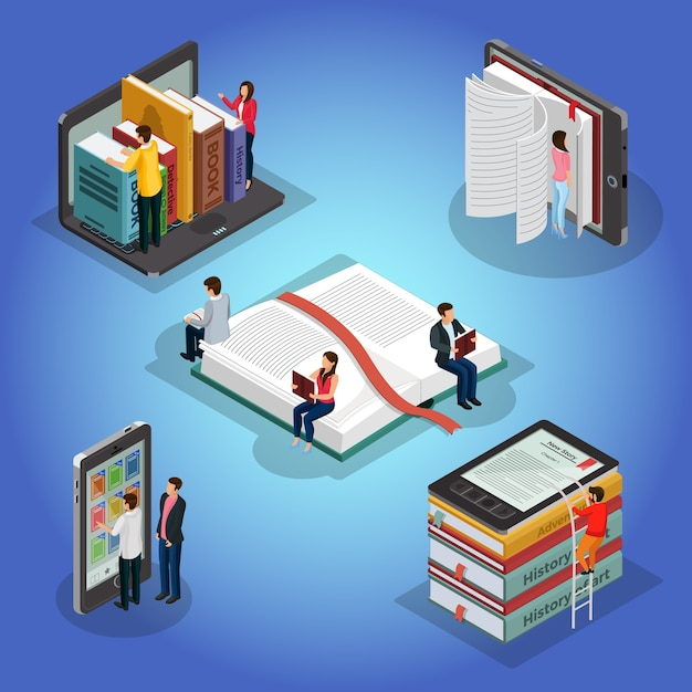 Isometric books reading composition with people and educational literature ebook reader electronic library on phone laptop isolated Free Vector