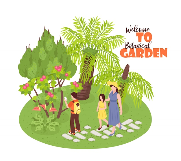 Isometric botanical garden  with view of wild nature park walking human characters and ornate text Free Vector