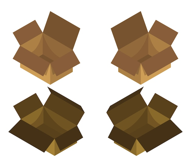 Isometric box set Free Vector