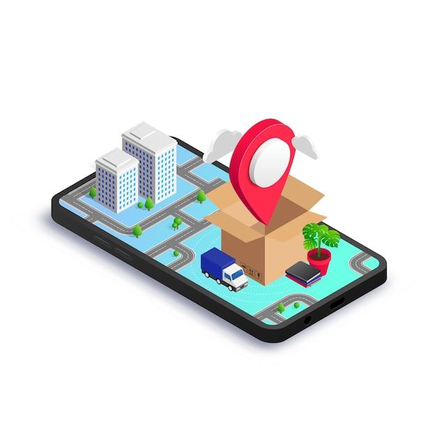지도 포인터, 밴 및 3d 도시지도가있는 스마트 폰 화면에 가정용 가구가있는 아이소 메트릭 상자. 이전 서비스 앱, 운송 회사, 새 집 또는 사무실 개념으로 이사. 프리미엄 벡터