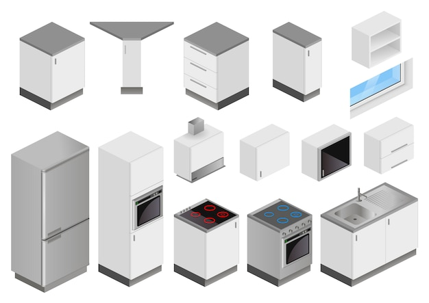 Isometric boxes of equipment for kitchen project Premium Vector