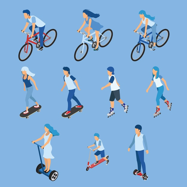 Isometric boy, girl and kid riding bicycle Premium Vector