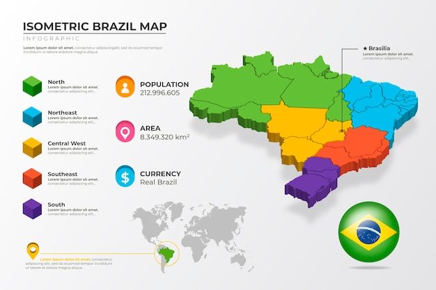 Mappa isometrica del brasile infografica Vettore gratuito