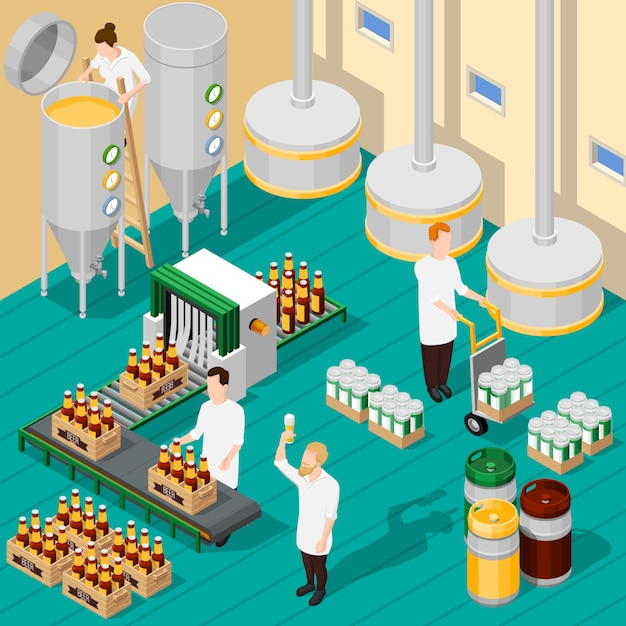 Isometric brewery background Free Vector