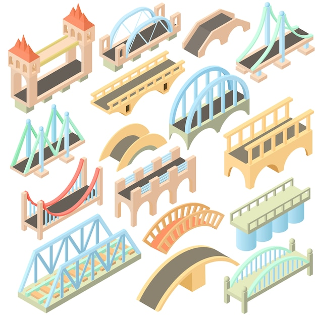 Isometric bridges icons set Premium Vector