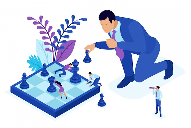 Isometric bright concept big business makes an informed decision, chess game, growth strategy. concept for web Premium Vector