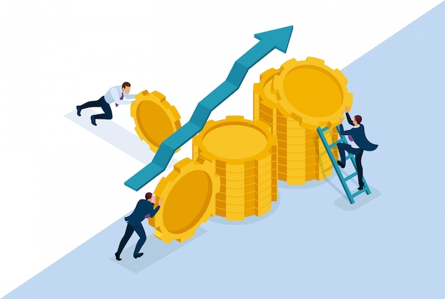 等尺性の明るいコンセプトサイト事業開発への事業投資、起業家は貯蓄を構築します。 webデザインのコンセプト Premiumベクター