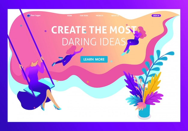 Isometric bright concept site for create and implement the most daring ideas in drawing. website template landing page Premium Vector