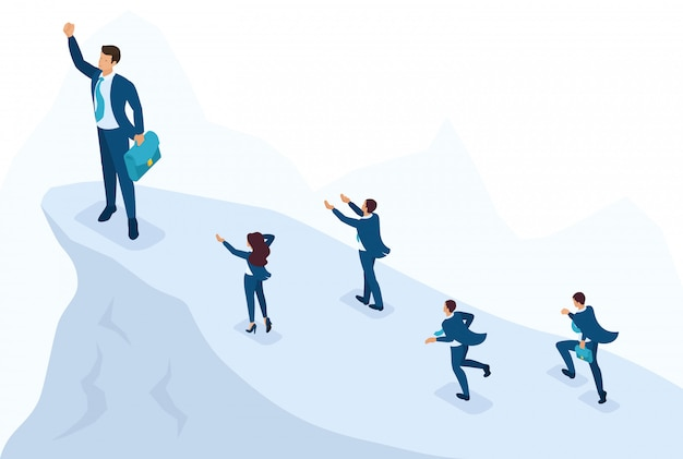 Isometric bright site concept big businessman at the top symbolizes leadership and success, people follow him. concept for web design Premium Vector