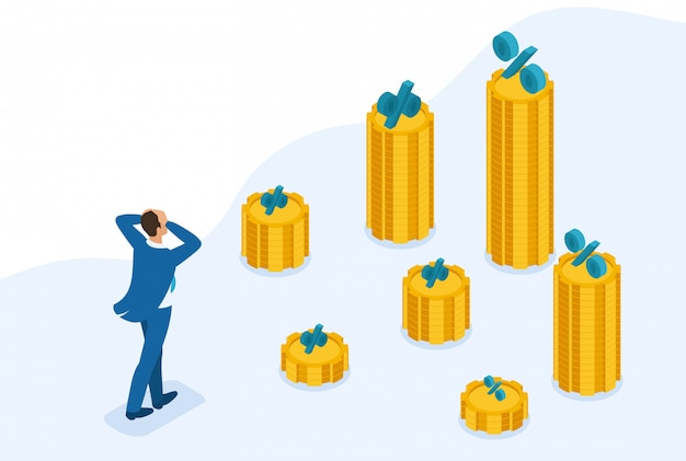 Isometric bright site concept build a career, businessman climbs the big golden mountain, succeed. concept for web design Premium Vector