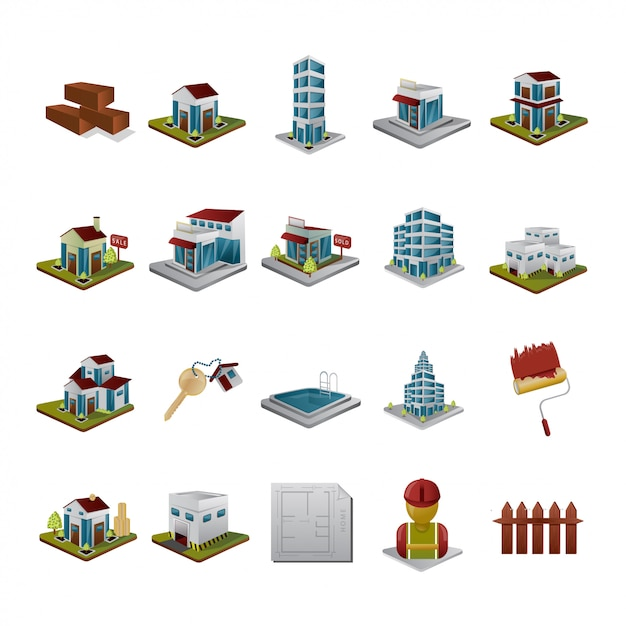 Isometric building and business Premium Vector