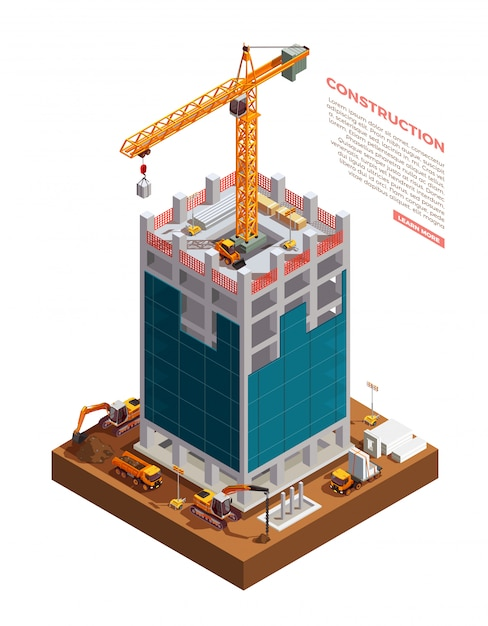 Isometric building construction Free Vector