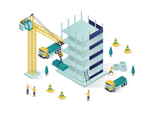 Isometric building under construction Premium Vector