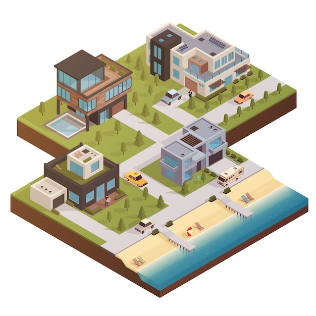 Isometric building estate composition Free Vector