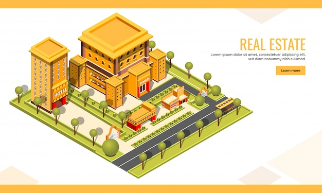 Isometric, building landing page or web template for website design Premium Vector