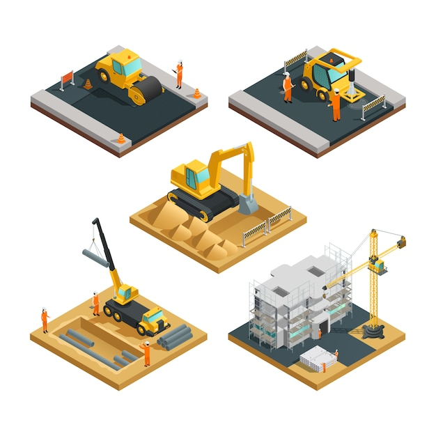 Isometric building and road construction compositions set with transport equipment and workers isola Free Vector