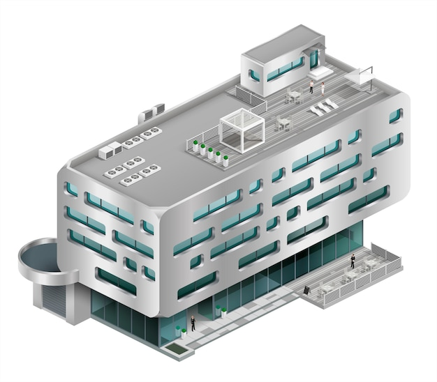 Isometric building shopping mall Premium Vector