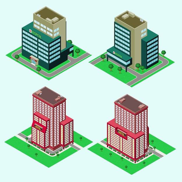 Isometric building Vector   Premium Download