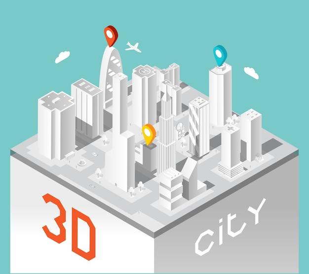 Paesaggio di edifici isometrici. città ed elegante architettura urbana, case d'affari. Vettore gratuito