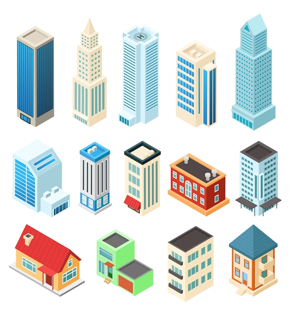 Isometric buildings set  on white, office skyscraper and residential house,  illustration Premium Vector