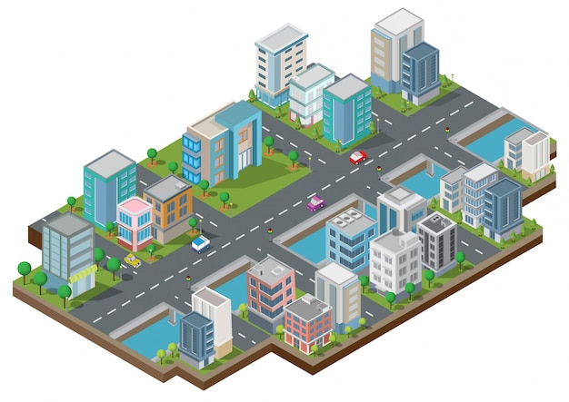 Isometric buildings with yard, river, road and trees Premium Vector