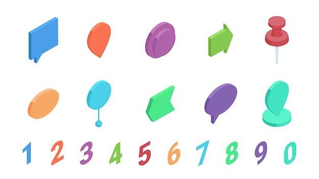 Изометрическая точка маркера с набором векторных иллюстраций чисел Premium векторы