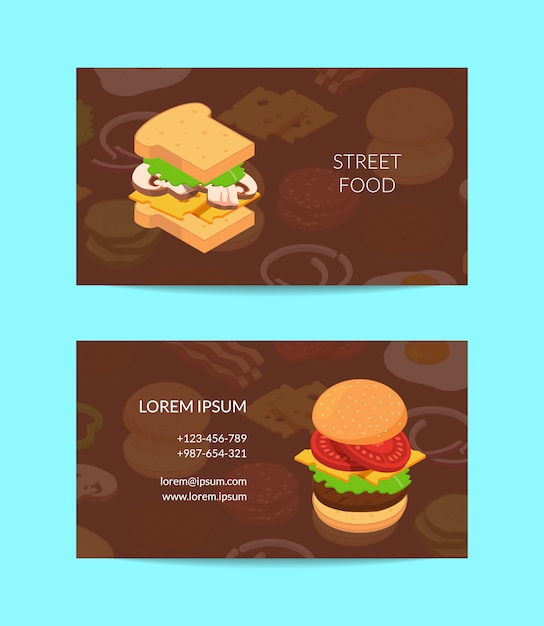 Isometric burger business card  colored Premium Vector