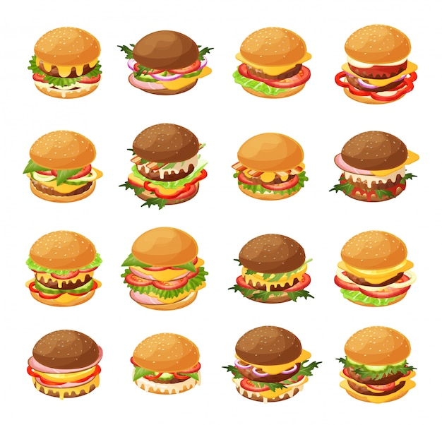 Isometric burger  illustration set, 3d cartoon fresh different hamburgers for fast food cafe menu icon set isolated on white Premium Vector