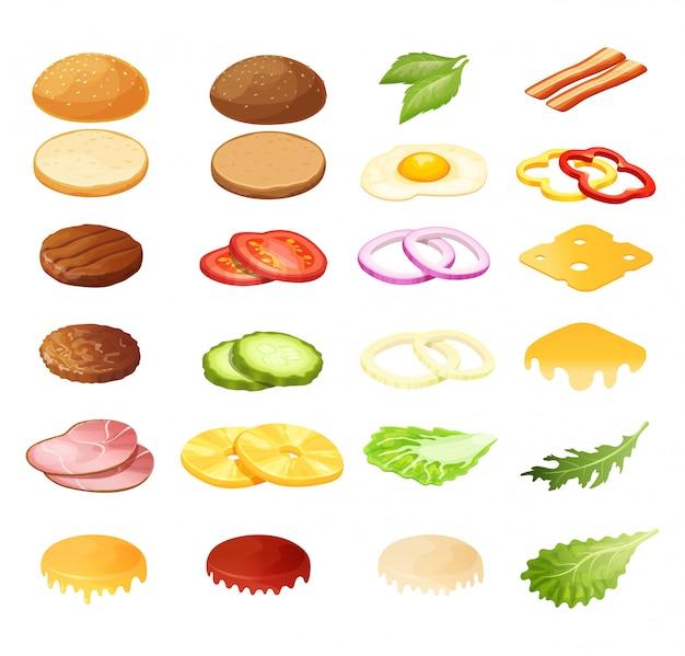 Isometric burger sandwich constructor  illustration, 3d cartoon menu ingredients for hamburger icon set isolated on white Premium Vector