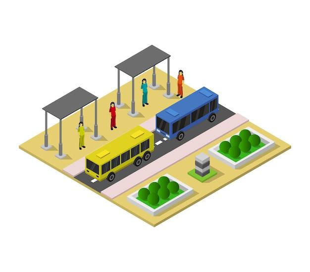 Изометрическая автобусная остановка Premium векторы