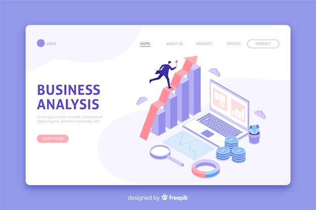 Isometric business analysis landing page Free Vector