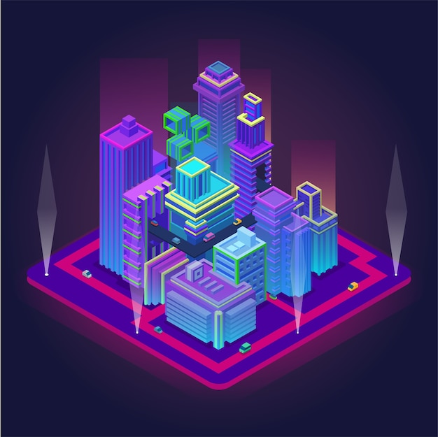 高層ビルのあるアイソメトリックビジネスセンター。交通インフラのベクトル図で未来の大都市。ネオンカラーのスマートシティイノベーションデザイン。展望工学と技術 Premiumベクター
