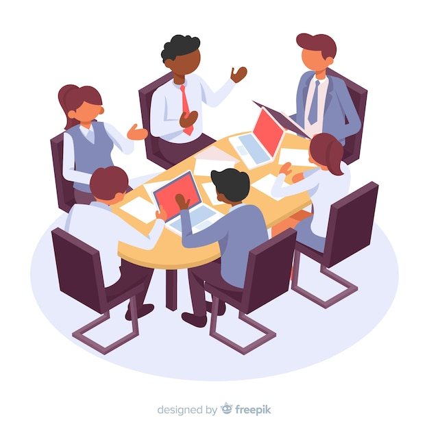 Isometric business characters in a meeting Free Vector