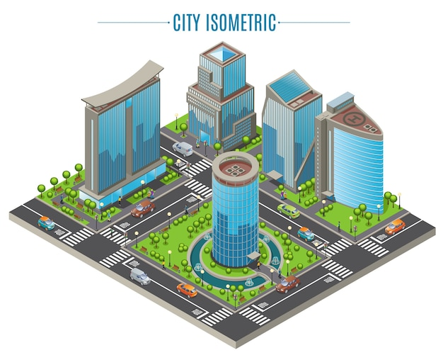 Isometric business city concept Free Vector