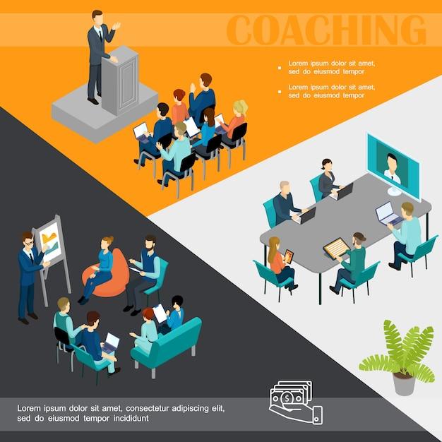 Business isometrico coaching modello colorato con uomo d'affari che parla al personale del podio formazione online e personale prendono parte alla conferenza Vettore gratuito