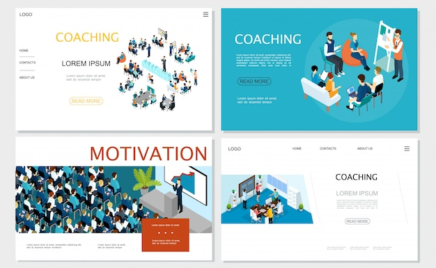 Isometric business coaching websites set with staff training seminar brainstorming conference businessman speaking to auditorium from tribune Free Vector