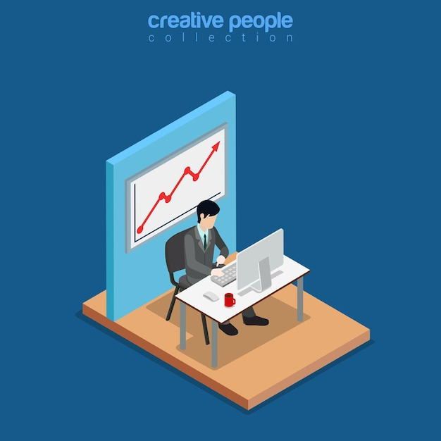 Isometric business concept flat 3d isometry web site conceptual illustration Free Vector