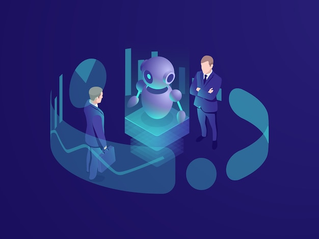 Isometric business concept of man thinking, crm system, artificial intelligence robot ai Free Vector
