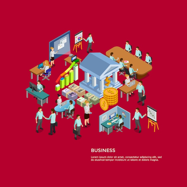Isometric business concept set Free Vector