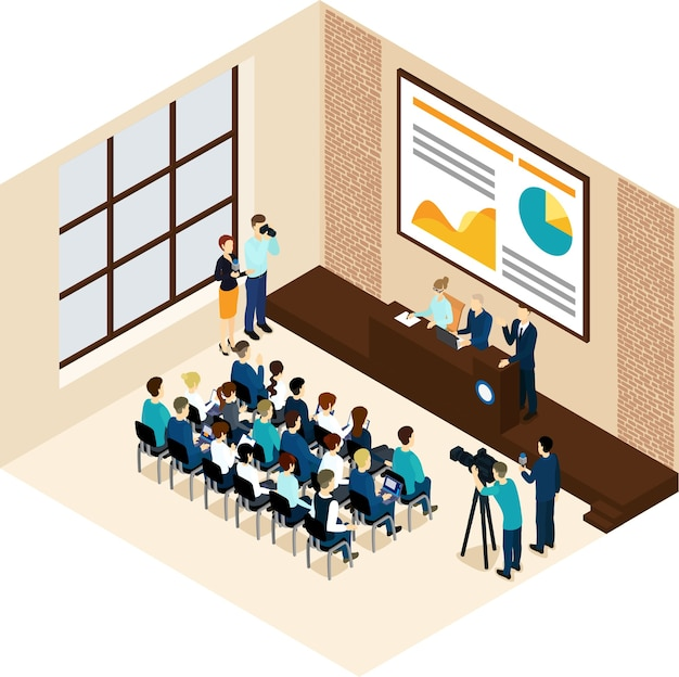 Isometric business conference concept Free Vector